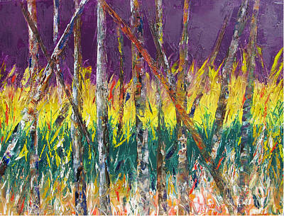 Sunset Abstract Pallet Knife Print by Lisa Boyd