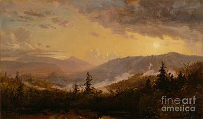 Sunset After A Storm In The Catskill Mountains Print by Jasper Francis Cropsey