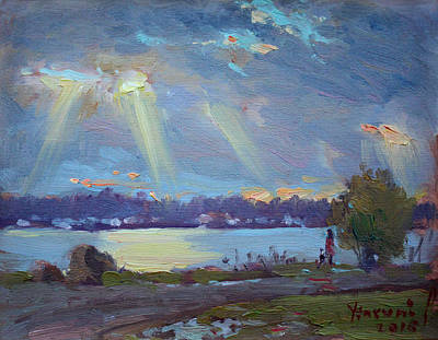 Buffalo River Painting - Sunset After The Rain by Ylli Haruni