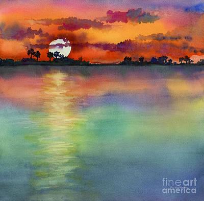 Lake Painting - Sunset by Amy Kirkpatrick
