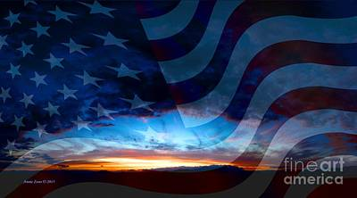 Photograph - Sunset And American Flag by Annie Zeno