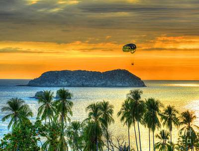 Sunset And Parasail Print by Debbi Granruth