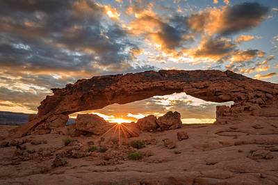 Holes In Sandstone Photograph - Sunset Arch by Johnny Adolphson