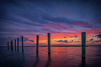 Sunset At Cedar Beach Marina Print by Rick Berk