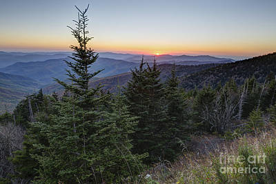 Sunset At Clingmans Dome Print by Patrick Shupert