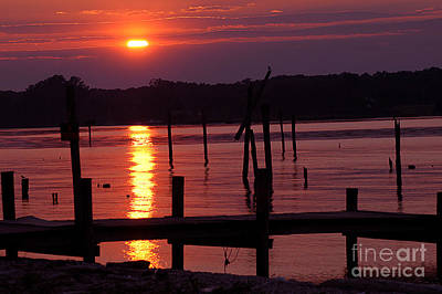 Sunset At Colonial Beach Print by Clayton Bruster