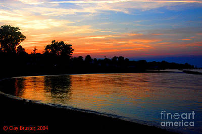 Sunset At Colonial Beach Cove Print by Clayton Bruster