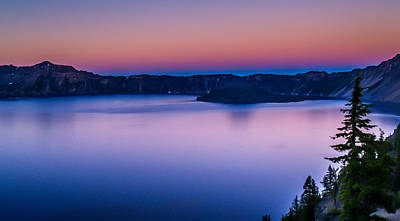 Sunset At Crater Lake Print by Michele James