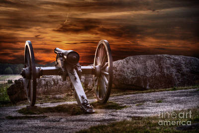 Artillery Digital Art - Sunset At Gettysburg by Randy Steele