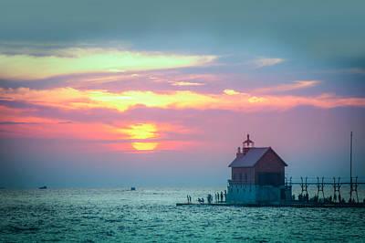 Sunset At Grand Haven, Mi Print by Art Spectrum