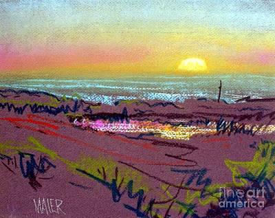 Half Moon Bay Drawing - Sunset At Half Moon Bay by Donald Maier