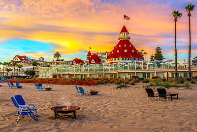 Us Flag Photograph - Sunset At Hotel Del Coronado by James Udall