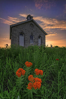 Stone House Photograph - Sunset At Lower Fox Creek Schoolhouse by Rick Berk