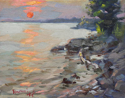 Buffalo River Painting - Sunset At Niagara River by Ylli Haruni
