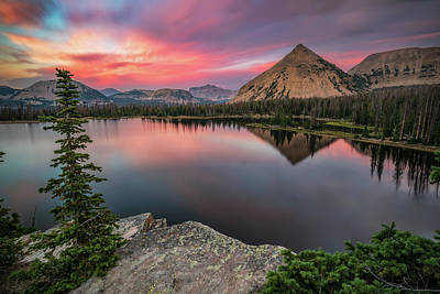 Sunset At Notch Lake Print by James Udall