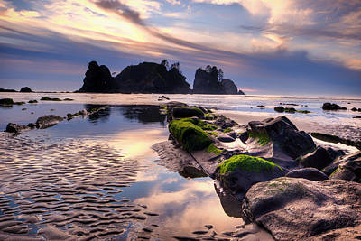 Northwest Photograph - Sunset At Shi Shi Beach by Alvin Kroon