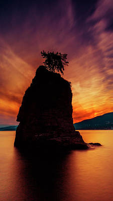Sunset At Siwash Rock Print by Stephen Stookey