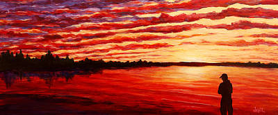 Lakefront Painting - Sunset At The Bay by Douglas Keil
