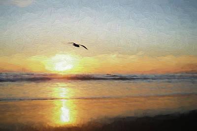 Santa Monica Digital Art - Sunset At The Beach by Ernie Echols