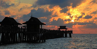 Sunset At The Naples Pier Print by Sean Allen