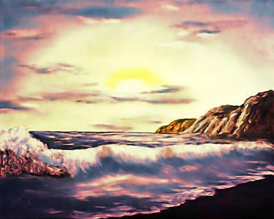 Bob Ross Digital Art - Sunset Beach Pastel Splash - Elegance With Oil by Claude Beaulac