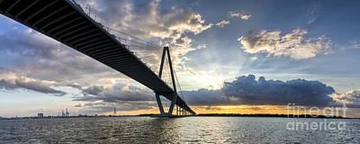 Sunset Behind Arthur Ravenel Jr Bridge Charleston South Carolina Print by Dustin K Ryan