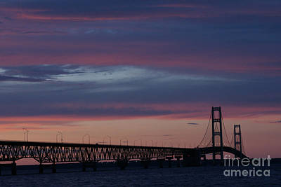 Sunset Bridge Print by Linda Shafer