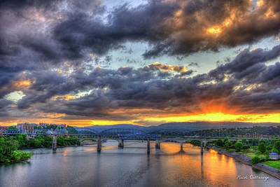 Sunset Bridges Of Chattanooga Walnut Street Market Street Print by Reid Callaway