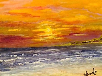 Moonlit Night Mixed Media - Sunset By The Beach by Nirmala Jetty