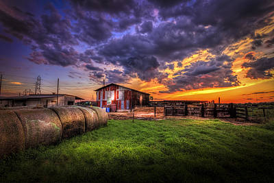 Barbed Wire Photograph - Sunset Dairy by Marvin Spates