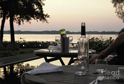 Table Wine Photograph - Sunset Dinner by Patricia Hofmeester