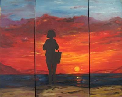 Landscape Painting - Sunset by Doris Cohen