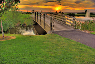 Sunset Foot Bridge Print by Dale Stillman