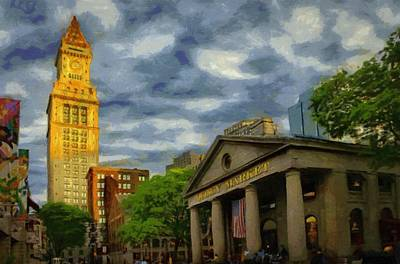Light Painting - Sunset Gleam Of Custom House Tower by Jeff Kolker