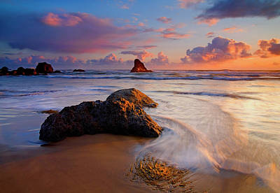 Pacific Coast Photograph - Sunset Glow by Mike  Dawson