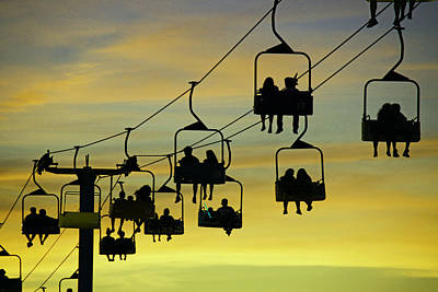 Rollercoaster Photograph - Sunset Gondola Ride by Allen Beatty