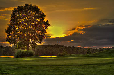 Sunset Hole In One The Landing Print by Reid Callaway