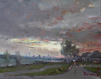 Buffalo River Painting - Sunset In A Rainy Day by Ylli Haruni