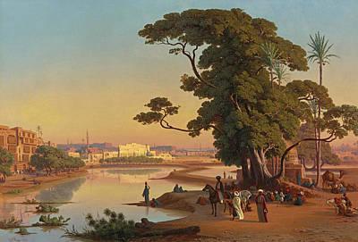 Johann Jakob Frey Painting - Sunset In Cairo by Johann Jakob Frey