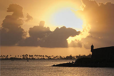 El Morro Photograph - Sunset In San Juan Bay by George Oze