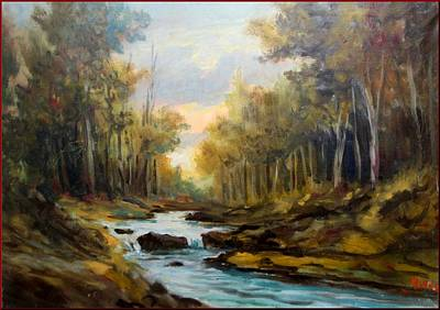Het Painting - Sunset In The Forest by MIlluz