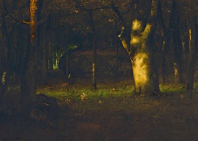 Sunset In The Woods Print by George Inness