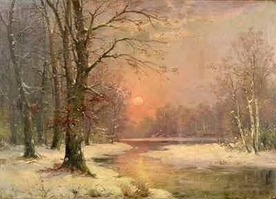 Adolf Painting - Sunset In Winter by Celestial Images