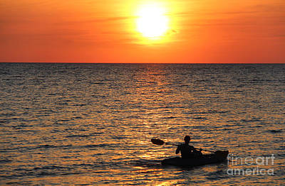 Sunset Kayak Print by Art Kurgin