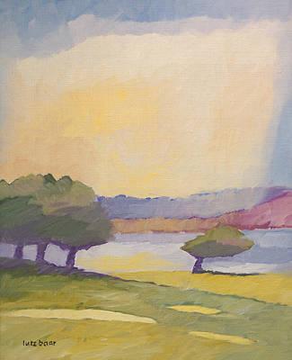 Handpainted Painting - Sunset Landscape by Lutz Baar