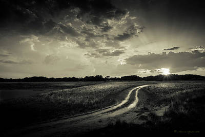 Working Cowboy Photograph - Sunset Lane-bw by Marvin Spates