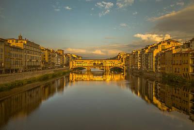 Florence Photograph - Sunset Light On The Ponte Vecchio Bridge by Chris Fletcher