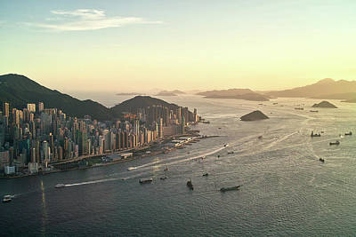 Sunset Of Hong Kong Victoria Harbor Print by Jimmy LL Tsang