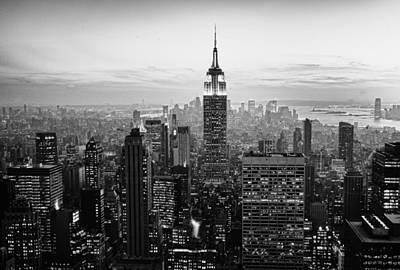 Sunset Of Manhattan Bw Print by Randy Lemoine