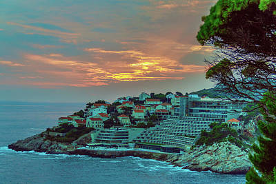 A Summer Evening Photograph - Sunset On Adriatic Sea Near The Croatian Town Of Dubrovnik by George Westermak